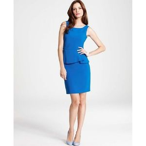 Ann Taylor Blue Peplum Sheath Cocktail Dress